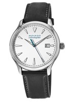 Movado Heritage Calendoplan 40mm White Dial Black Leather Strap Men's Watch 3650002