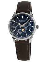 Movado Heritage  Celestograf Blue Multifunction Dial Cola Brown Leather Women's Watch 3650009