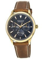 Movado Heritage  Celestograf Blue Multifunction Dial Brown Leather Women's Watch 3650010