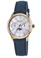 Movado Heritage  Celestograf White Multifunction Dial Navy Leather Women's Watch 3650011