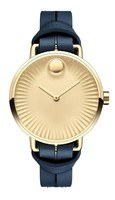 Movado Edge  Gold Dial Blue Leather Strap Women's Watch 3680036
