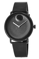 Movado Edge  Black Dial Black Leather Men's Watch 3680039