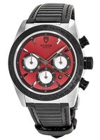 Tudor Fastrider Chronograph Red Dial Rubber Strap Men's Watch 42010N-0006