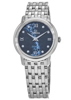 Omega De Ville Prestige Quartz 27.4mm Blue Diamond Orbis Teddy Bear Pattern Women's Watch 424.10.27.60.53.003