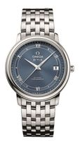 Omega De Ville Prestige Co-Axial 36.8mm Automatic Blue Railroad Dial Men's Watch 424.10.37.20.03.002