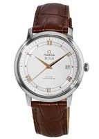 Omega De Ville Prestige Co-Axial 39.5mm Silver Dial Brown Leather Strap Men's Watch 424.13.40.20.02.002
