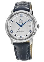 Omega De Ville Prestige Co-Axial 39.5mm Grey & Blue Dial Leather Strap Men's Watch 424.13.40.20.02.003