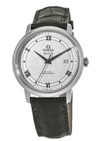 Omega De Ville Prestige Co-Axial 39.5mm Silver Patterned Dial Leather Strap Men's Watch 424.13.40.20.02.006