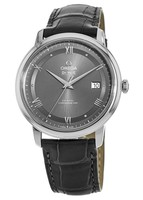 Omega De Ville Prestige Co-Axial 39.5mm Grey Dial Leather Strap Men's Watch 424.13.40.20.06.001