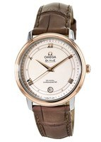Omega De Ville Prestige Co-Axial 36.8mm Stainless Steel and Rose Gold Brown Leather Men's Watch 424.23.37.20.09.001