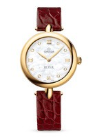 Omega De Ville Prestige Quartz 27.4mm Dewdrop Mother of Pearl Diamond Dial Red Leather Strap Women's Watch 424.53.27.60.55.001