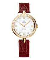 Omega De Ville Prestige Quartz 27.4mm Dewdrop Mother of Pearl Diamond Dial Diamond Bezel Red Leather Strap Women's Watch 424.58.27.60.55.001