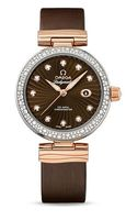 Omega De Ville Ladymatic Steel Rose Gold Brown Satin Leather Women's Watch 425.27.34.20.63.001