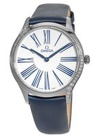 Omega De Ville Tresor 36mm White Roman Dial Blue Satin Strap Women's Watch 428.17.36.60.04.001