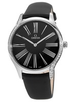 Omega De Ville Tresor Diamonds Black Dial Black Fabric Strap Women's Watch 428.17.39.60.01.001