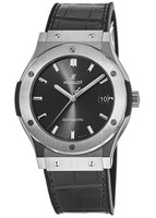 Hublot Classic Fusion 45mm Racing Grey Dial Titanium Case Leather Strap Men's Watch 511.NX.7071.LR