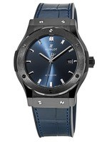 Hublot Classic Fusion 42mm Blue Dial Blue Leather Men's Watch 542.CM.7170.LR