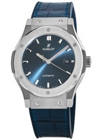 Hublot Classic Fusion 42mm Automatic Blue Dial Titanium Case Leather Strap Men's Watch 542.NX.7170.LR