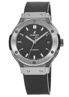 Hublot Classic Fusion 38mm Black Dial Titanium Case Rubber Strap Unisex Watch 565.NX.1171.RX