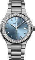 Hublot Classic Fusion 38mm Light Blue Dial Titanium Women's Watch 568.NX.891L.NX.1204