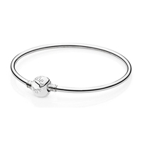 Pandora   Sterling Silver 21cm Charm Bangle  Bracelet 590713-21