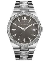 Bulova Crystal  Grey Dial Stainless Steel Men's Watch 96B221