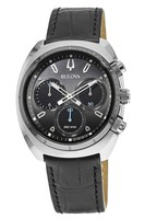 Bulova Curv Chronograph Dark Grey Dial Black Leather Men's Watch 98A155