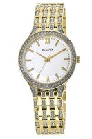 Bulova Crystal  Yellow Gold Tone Mother of Pearl Dial Women's Watch 98L234