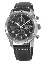 Breitling Navitimer 8 Chronograph 43 Black Dial Black Leather A13314101B1X1 Men's Watch A13314101/B1-487X