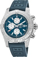 Breitling Avenger Super Avenger II Blue Rubber Deployment Buckle Strap Men's Watch A1337111/C871-160S