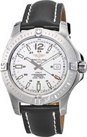 Breitling Colt 44 Automatic Silver Dial Black Leather Men's Watch A1738811/G791-435X