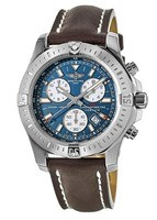 Breitling Colt Chronograph Quartz Blue Dial Brown Leather Men's Watch A7338811/C905-437X