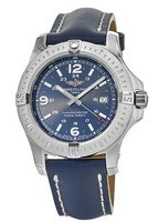 Breitling Colt 44 Quartz Blue Dial Leather Strap Men's Watch A7438811/C907-105X