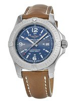 Breitling Colt 44 Quartz Blue Dial Brown Leather Strap Men's Watch A7438811/C907-433X
