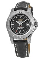 Breitling Colt 33 Quartz Volcano Black Dial Leather Strap Women's Watch A7738811/BD46-208X