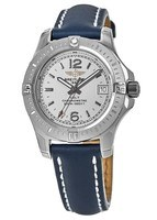Breitling Colt  Silver Dial Blue Calf Leather Strap Women's Watch A7738811/G793-116X