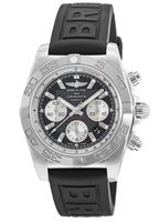 Breitling Chronomat 44 Black Dial Black Rubber Men's Watch AB011012/B967-152S