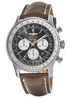 Breitling Navitimer 01 (46mm) Limited Edition Black Dial Brown Leather Men's Watch AB01291A/BD09-443X