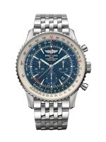 Breitling Navitimer GMT Aurora Blue Chronograph Dial Limited Edition Steel Men's Watch AB04411A/C937-453A