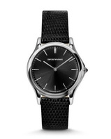 Emporio Armani Classic  Black Dial Black Leather Unisex Watch ARS2001