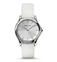 Emporio Armani Classic  Silver Dial White Leather Unisex Watch ARS2009