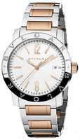 Bulgari   Silver Opaline Dial Stainless Steel And Rose Gold Men's Watch BB39WSPGD