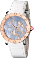 Bulgari   Blue Mother Of Pearl Diamond Flower Motif Rose Gold Women's Watch BBL33FDSPGL