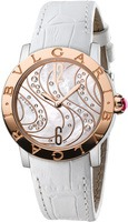 Bulgari   18k Rose Gold Mother of Pearl Wave Motif Women's Watch BBL33WCDSPGL