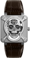 Bell & Ross Laughing Skull  Diamond Bezel Men's Watch BR01-SKULL-SK-LGD