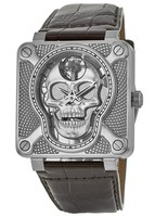 Bell & Ross Laughing Skull  Leather Bracelet Men's Watch BR01 Skull-SK-ST