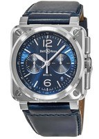 Bell & Ross BR 03-94  Blue Dial Blue Leather Men's Watch BR0394-BLU-ST/SCA