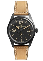 Bell & Ross Vintage  Ceramic Tan Leather Strap Men's Watch BR-123 Heritage