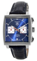 Tag Heuer Monaco Chronograph Blue Steve McQueen Edition Leather Strap Men's Watch CAW2111.FC6183