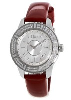 Dior Christal 33mm Red Leather Strap Diamond Women's Watch CD11311CA001